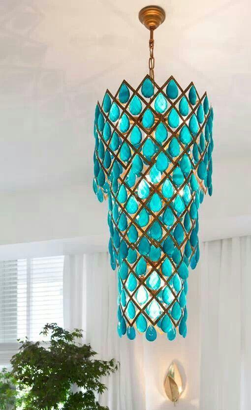 Teal teardrop tiered chandelier | Girlfriend is better