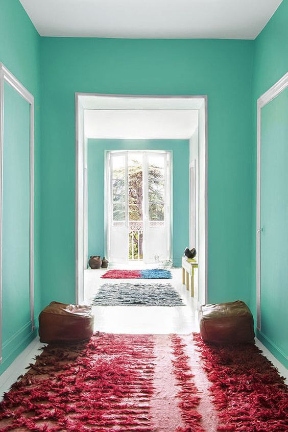 Teal painted halls and pink rugs | Bohemian decor | Girlfriend is Better