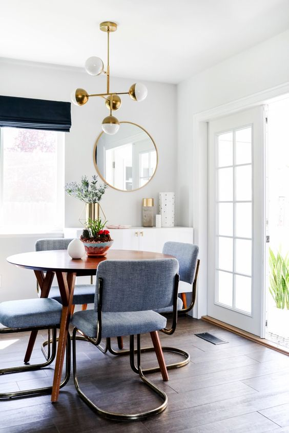 Blue mid-century modern dining room | Aquarius astrology home decor guide | Girlfriend is Better