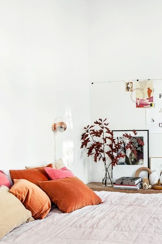 Bedroom Feng Shui | Red pink orange throw pillows | Girlfriend is Better