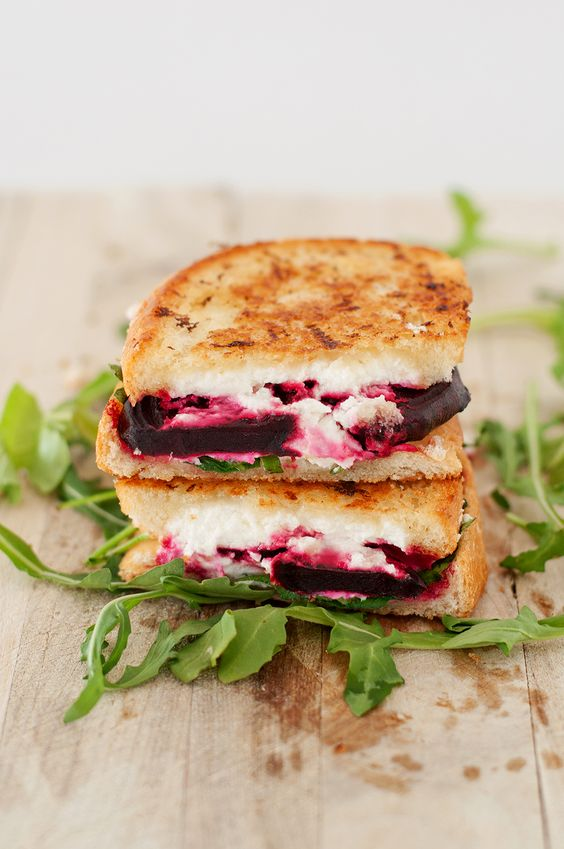 Beet, Goat Cheese & Arugula Grilled Cheese healthy recipe | Girlfriend is Better