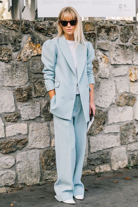 Double-breasted blazers | Powder-blue pantsuit | Girlfriend is Better