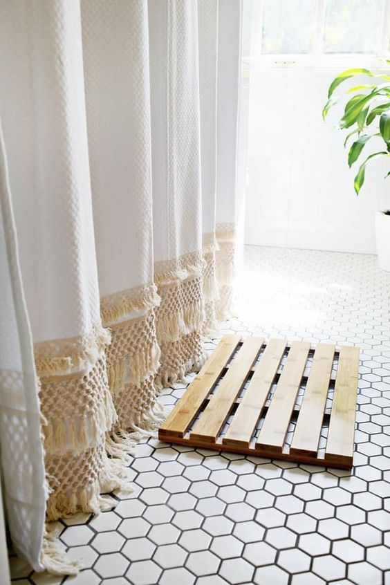 Shower curtains under $50 | Mid-century modern fringe | Girlfriend is Better