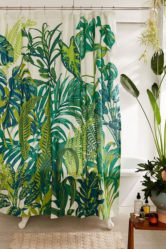 Shower curtains under $50 | Bohemian botanical jungalow | Girlfriend is Better