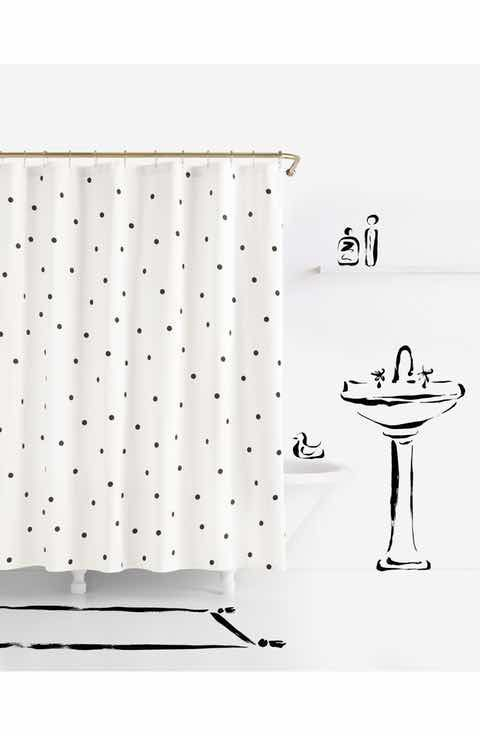Kate Spade polka dot shower curtains under $50 | French country decor | Girlfriend is Better