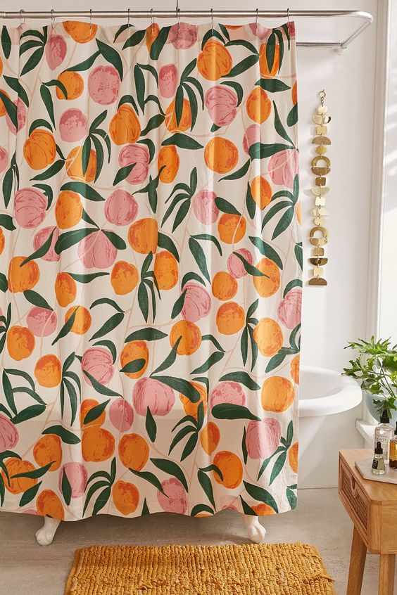 Shower curtains under $50 | Mid-century modern peach print | Girlfriend is Better