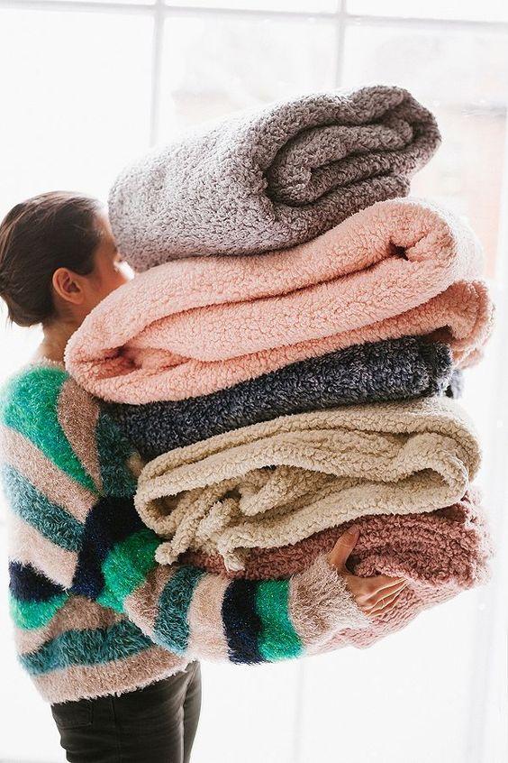 Spring Hygge decor | Cozy fleece blankets | Girlfriend is Better