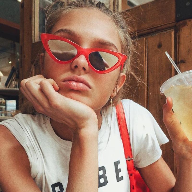 Tiny sunglasses   Red cat eye frames   Girlfriend is Better