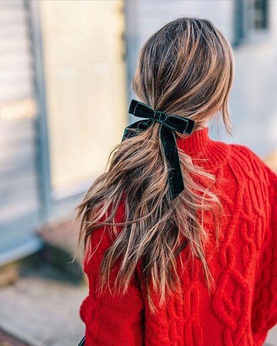 Valentine's Day fashion | Velvet bow ponytail | Girlfriend is Better