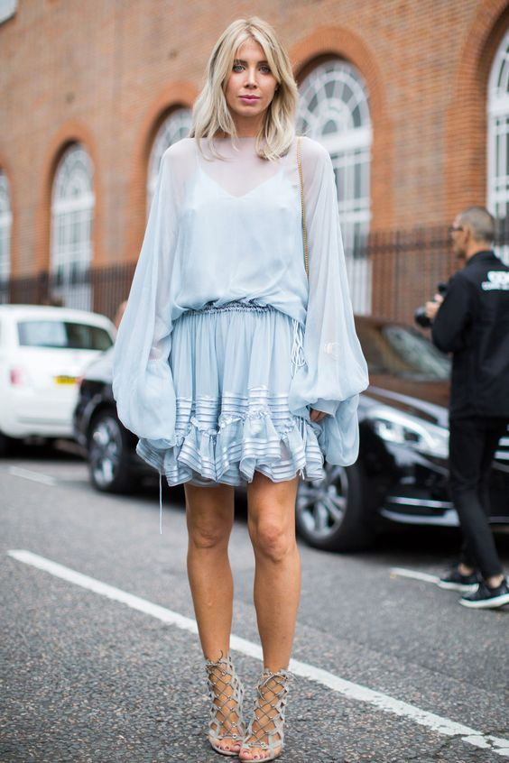 Valentine's Day fashion | Blue ruffled dress balloon sleeves | Girlfriend is Better