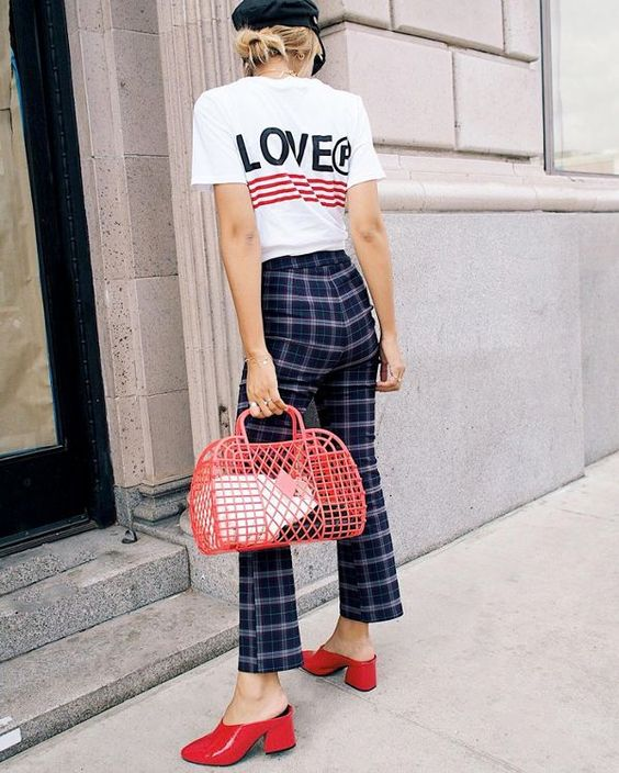 Easy outfits for Spring Break vacation Niagra Falls New York   sailor cap, plaid flare pants, jelly retro basket   Girlfriend is Better