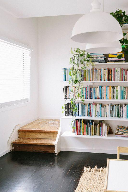 Organization ideas for stairways | Bookshelves open shelving | Girlfriend is Better
