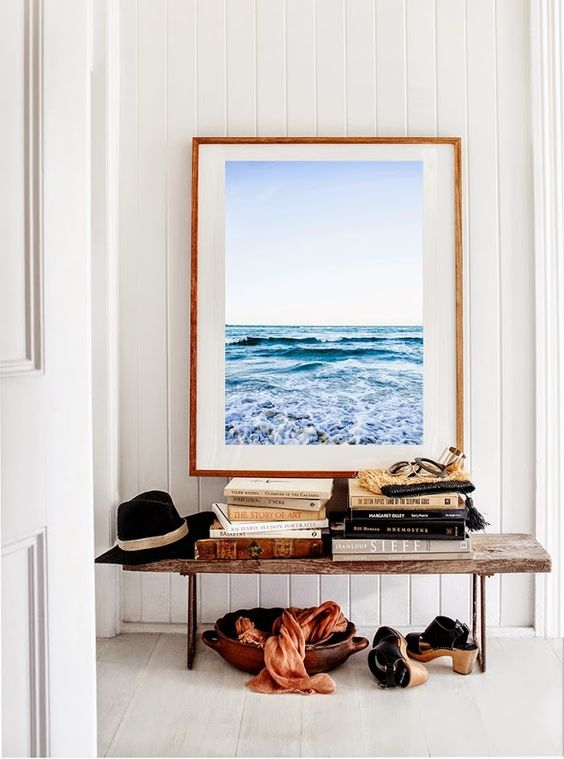 Pisces astrology home decor | Ocean photography entryway bench | Girlfriend is Better