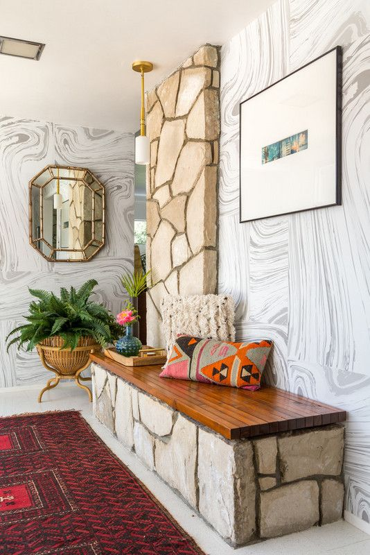 Aries astrology home decor guide | marbled wallpaper stone bench | Girlfriend is Better