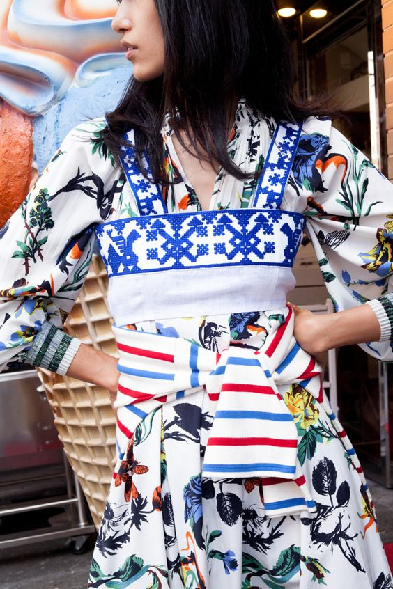 Print mixing Bohemian dress, blouse, sweater   florals with stripes   Girlfriend is Better