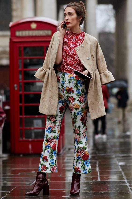 Print mixing baby bells pants, blouse, bell sleeves coat   London Fashion Week 2018   Girlfriend is Better