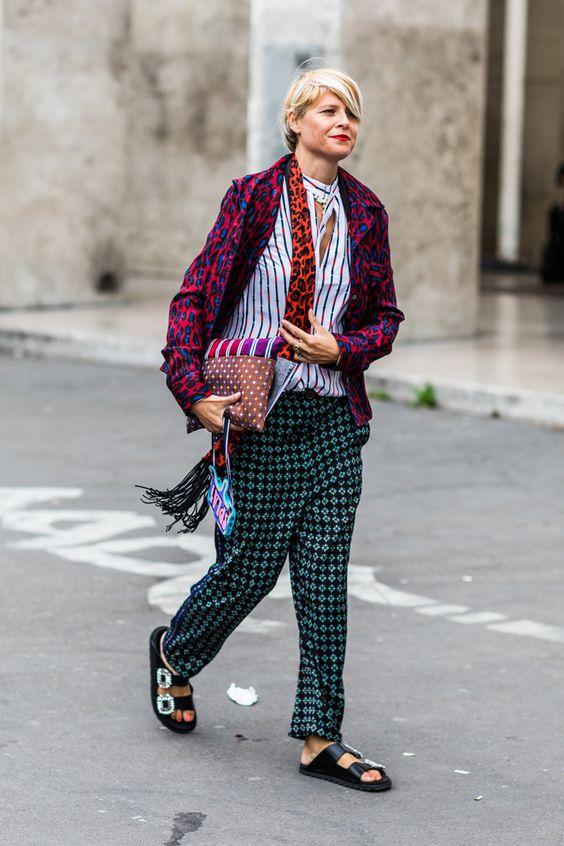 Print mixing pajama pants, striped blouse, cheetah print, polka dots | Paris Fashion Week 2018 | Girlfriend is Better