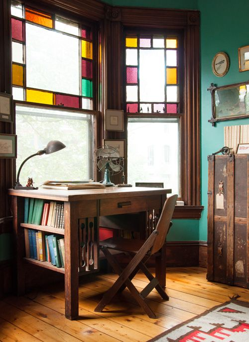 Stained glass windows mid-century modern office | Girlfriend is Better