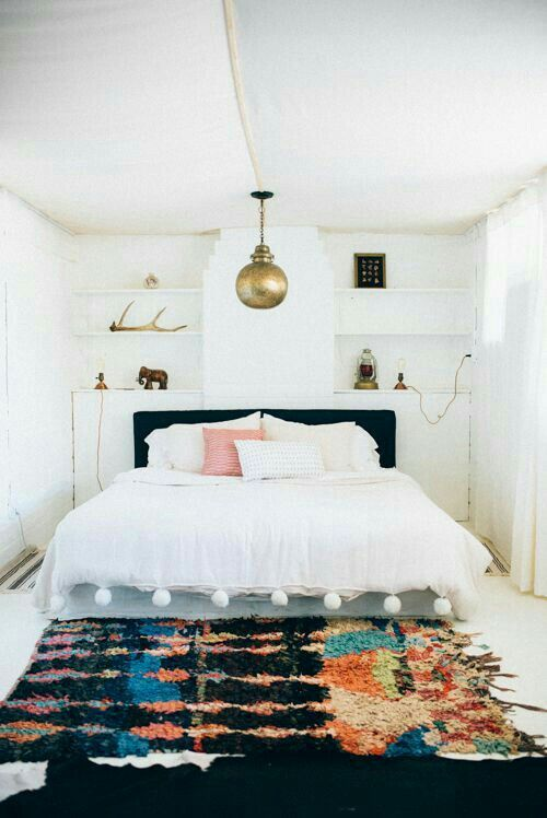 Moroccan area rugs brighten Bohemian bedrooms | Girlfriend is Better
