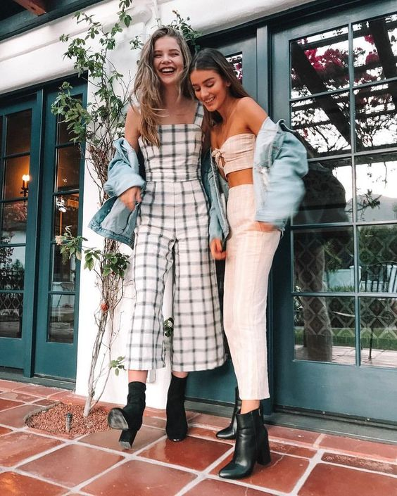 Crop Tops and wide-leg plaid jumpsuit summer sets | Girlfriend is Better
