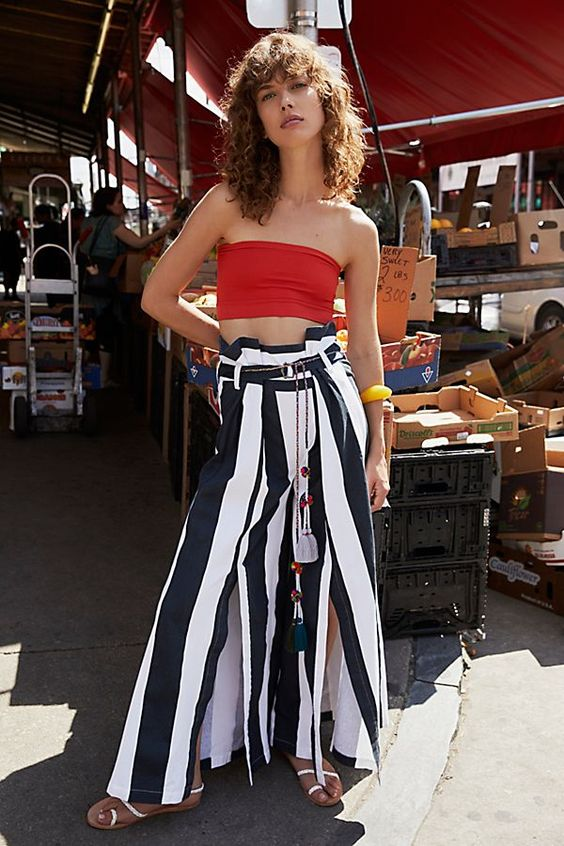 Bandeau crop tops and wide-leg striped pants | Girlfriend is Better
