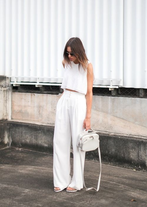 Crop tops and high-waist pants set all white | Girlfriend is Better