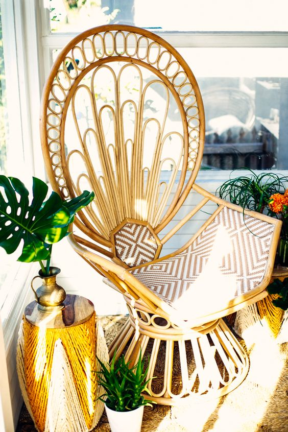 Peacock chair in sun room nook gold accent decor | Girlfriend is Better
