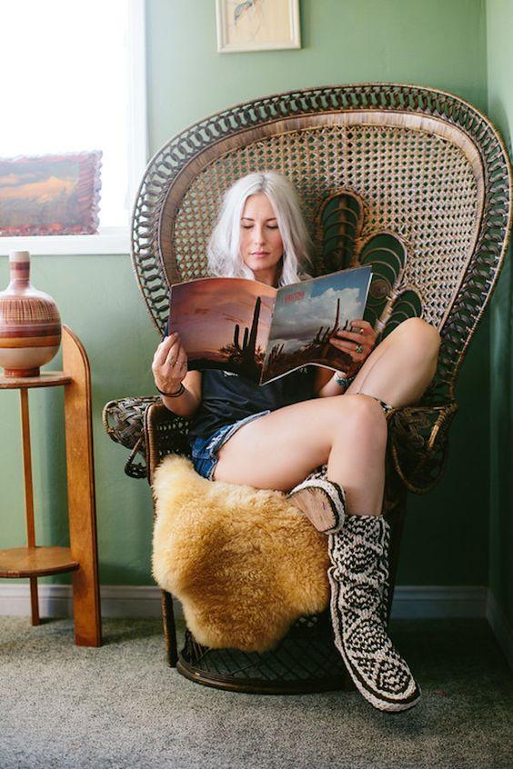 Peacock chair Bohemian surf shack decor | Girlfriend is Better