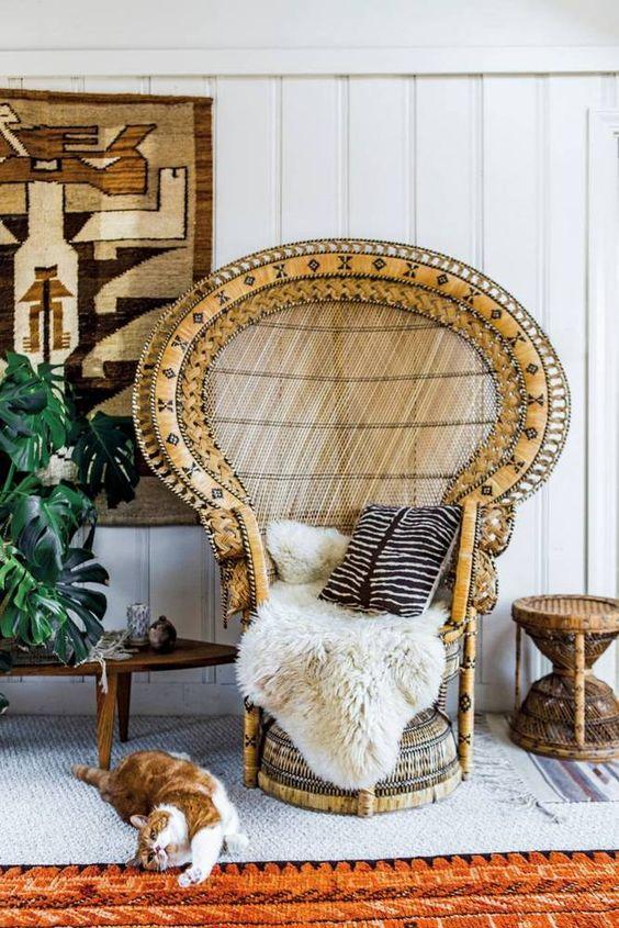 Vintage peacock chair Bohemian living room | Girlfriend is Better