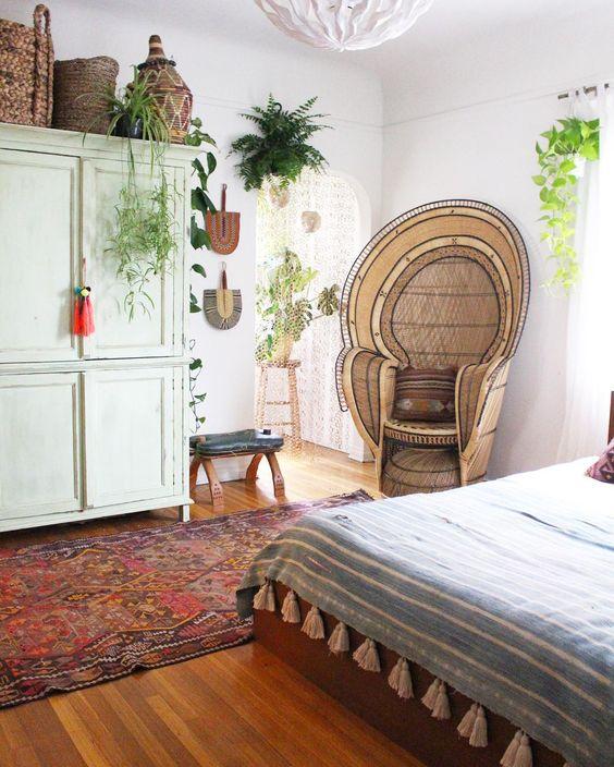Peacock chair bedroom nook Persian rug | Girlfriend is Better