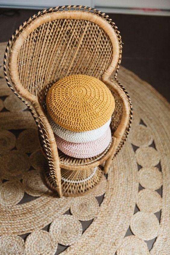Peacock chair crochet pillows natural fiber rug | Girlfriend is Better