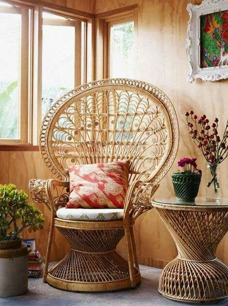 Peacock chair in sunroom nook with rattan side table | Girlfriend is Better