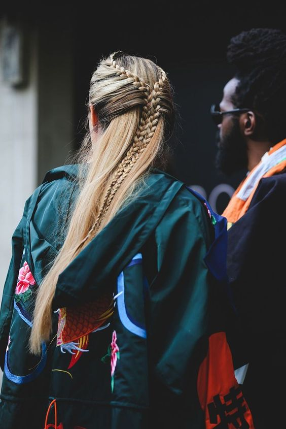 90s fishtail braids hair style | London Fashion Week | Girlfriend is Better