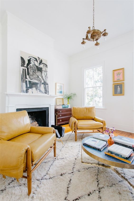 Gemini astrology home decor   Bohemian yellow leather chairs   Girlfriend is Better