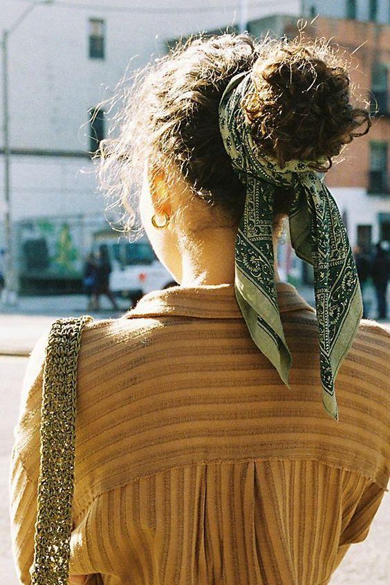 Hair scarf tied in bun | Girlfriend is Better