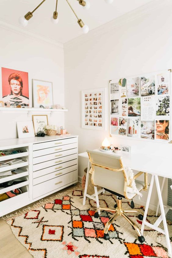 Home office organization   Bohemian white desk drawers gallery wall   Girlfriend is Better
