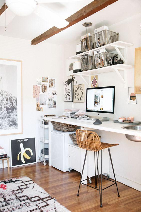 Home office open shelving wire baskets | Girlfriend is Better