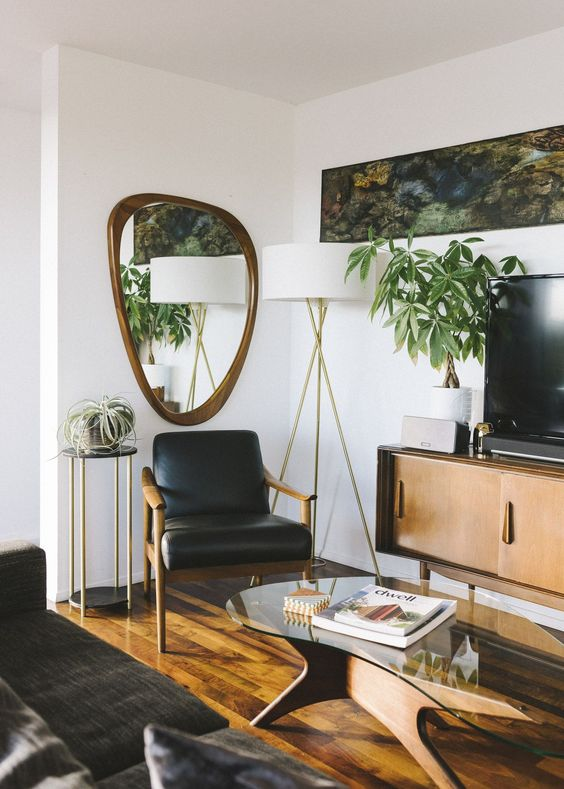 Water element Feng Shui | Geometric mirror mid-century modern black leather arm chair living room | Girlfriend is Better
