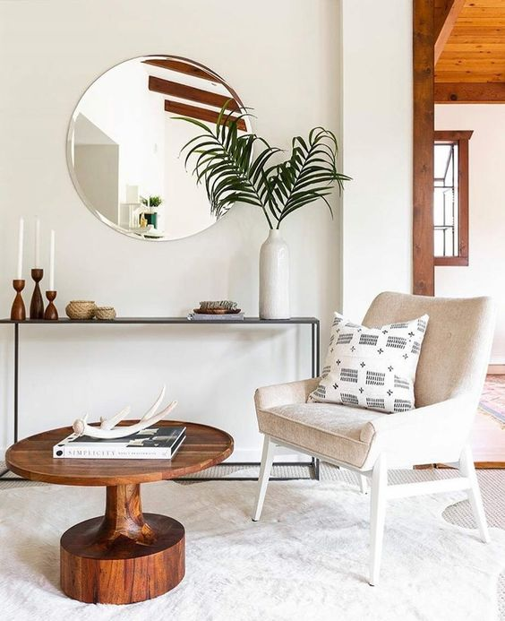 Cancer astrology home decor | Round mirror, white mid-century modern chair | Girlfriend is Better