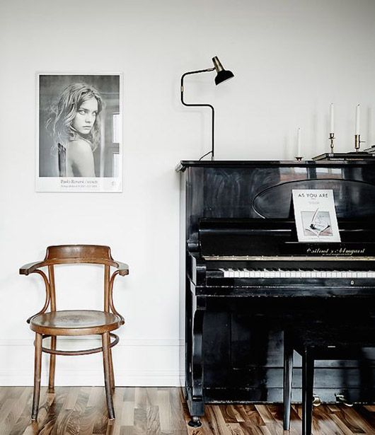 Cancer astrology home decor | Black upright piano black and white photography bentwood chair | Girlfriend is Better