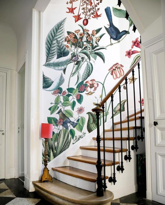 Cancer astrology home decor | floral wallpaper stairway entryway French country | Girlfriend is Better