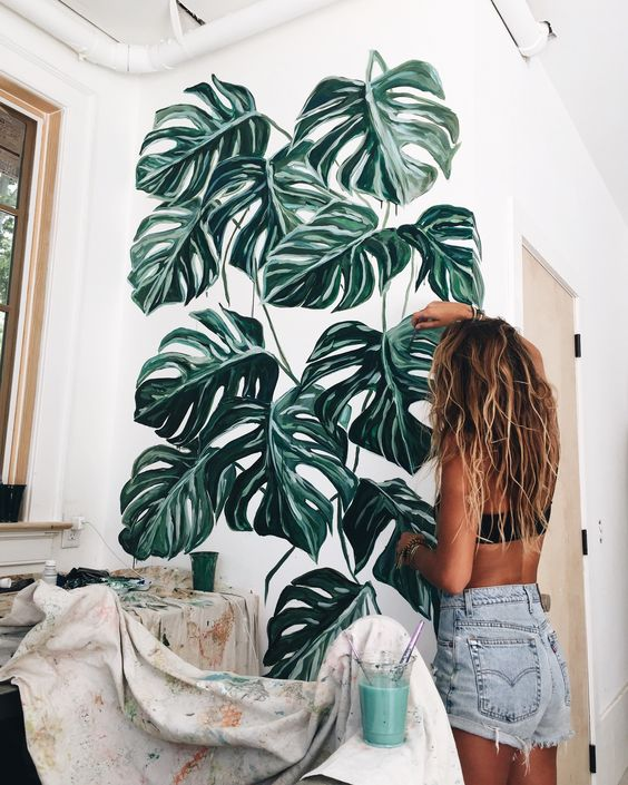 Monstera Deliciosa painted wall mural | Girlfriend is Better