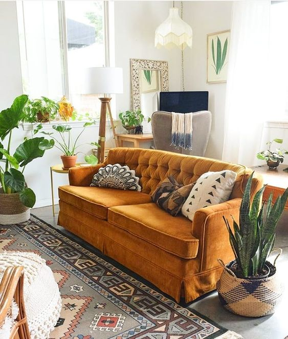 Bohemian orange sofas velvet tufted | Girlfriend is Better