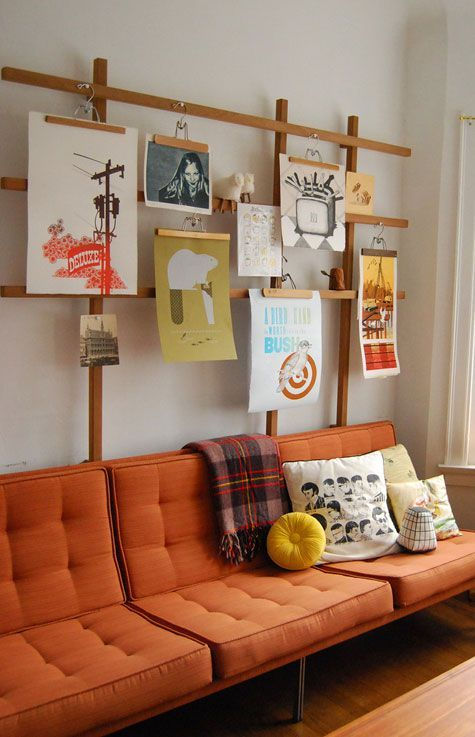 Sectional orange sofas mid-century modern | gallery wall | Girlfriend is Better