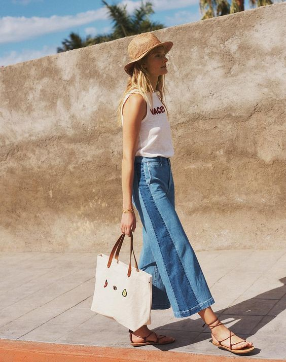 Summer sandals | Straw hat canvas tote wide leg high waist pants | Girlfriend is Better