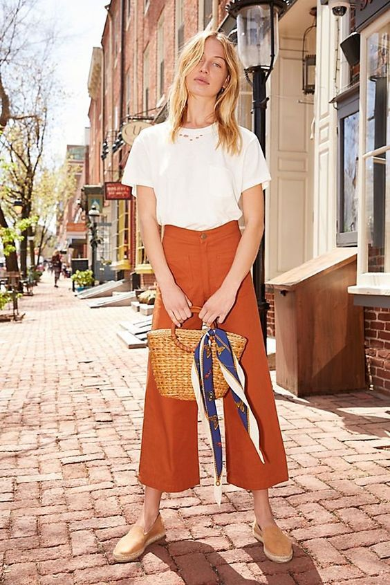 Tan espadrille sandals | Straw bag head scarf orange wide leg cropped pants | Girlfriend is Better