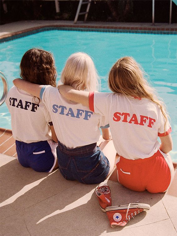 Summer camp fashion 70s inspired   Staff ringer tees   Girlfriend is Better