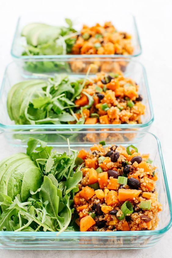 Healthy meal prep recipes vegan gluten-free | Sweet Potato and Black Bean Quinoa Bake | Girlfriend is Better