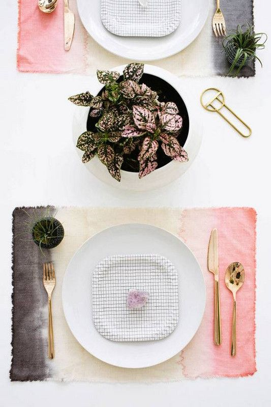 Leo astrology home decor guide | Tablescape dip-dyed placemats gold silverware pink polka dot plant | Girlfriend is Better