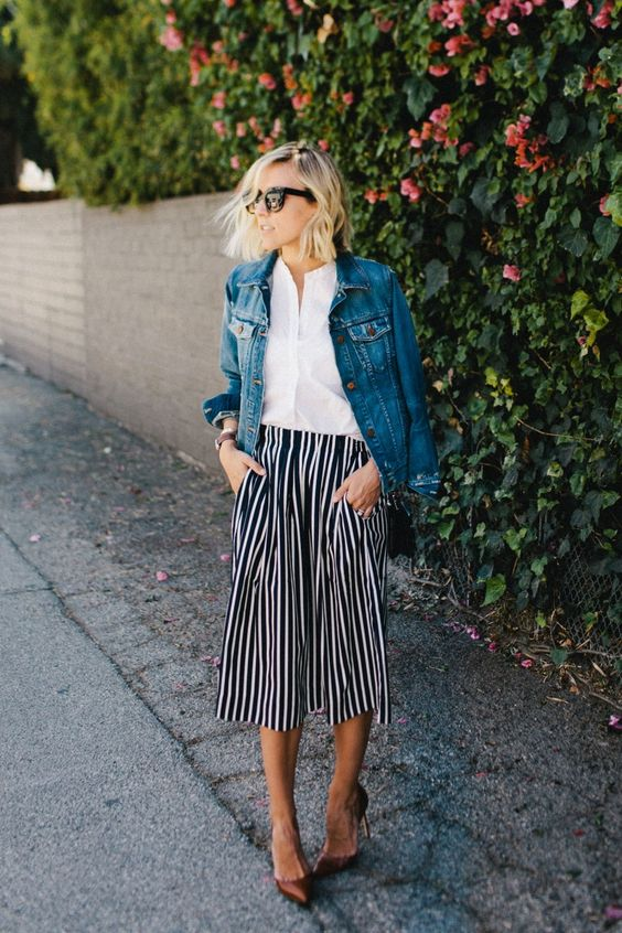 Striped midi skirts | white blouse denim jacket | Girlfriend is Better
